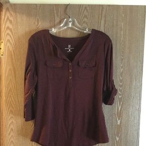 Top, maroon, button top